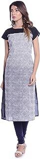 METRO-FASHION Women's Calf Length Dark Blue Casual Printed Straight Cotton Round Neck Short Sleeve Kurta. (X-Large, Dark Blue)