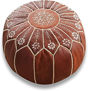 Mina Stuffed Side Embroidered Moroccan Leather Pouf Ottoman, 20
