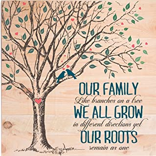LifeSong Milestones Our Family Like Branches on a tree pallet art New housewarming family anniversary gift for grandparents 24