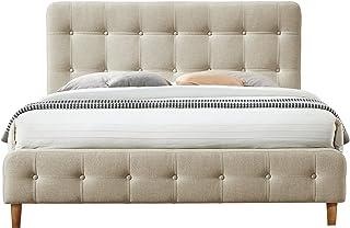 Omax Decor Hugo Platform Bed, Queen, Beige