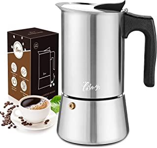LIBWYS 7-i-1 spishäll-kaffebryggare set 200 ml/4 koppar matkvalitet rostfritt stål moka gryta espressomaskin med glasunder...
