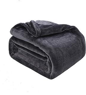 Oseamaid 毛布 シングル ブランケットフランネル ふんわり あったか 柔軟軽量 洗濯可能 静電防止 抗菌防臭 140X200cm (ダークグレー 深灰)