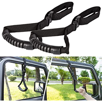 2 Pack E-cowlboy Auto Cane Car Grab Handle Adjustable Standing Aid Safety Handle Vehicle Support Portable Nylon Grip Handle Car Assist Device Black