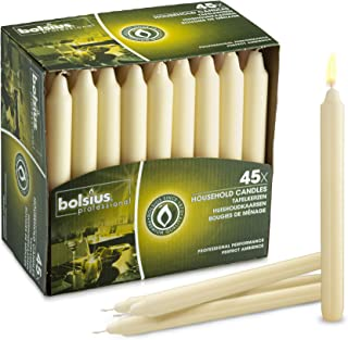BOLSIUS Straight Unscented Ivory Candles Pack of 45-7-inch Long Candles - 7 Hour Long Burning Candles - Perfect for Emergency Candles, Chime Candles, Table Candles for Wedding, Dinner, Christmas