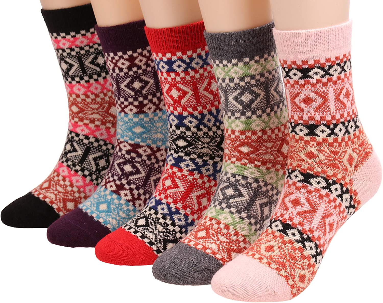 5 Pairs Women Vintage Warm Wool Crew Socks Winter Thick Boot Socks S35