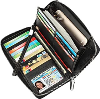 Women's RFID Blocking Leather Zip Around Wallet Large Phone Holder Clutch Travel Purse Wristlet