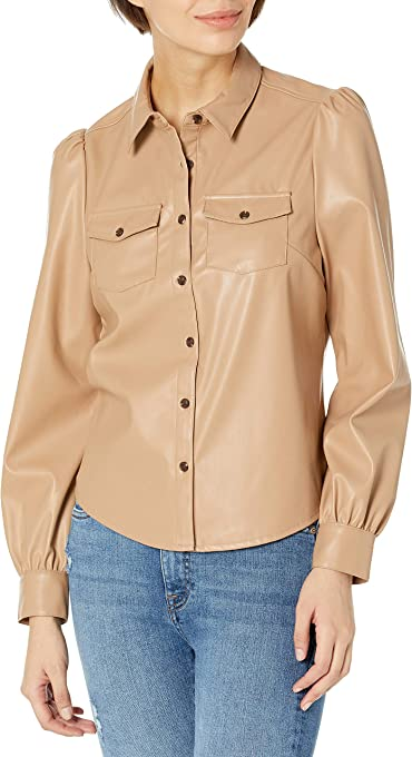 The Drop Women's Clemence Faux Leather Puffed Long Sleeve Utility Blouse
