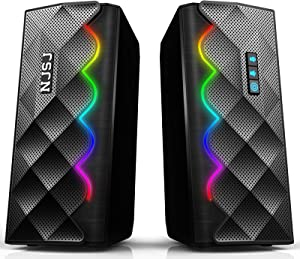 Computer Speakers, NJSJ Dynamic RGB Desktop Speakers, Bluetooth 5.0 & 3.5mm Aux-in Connection, Stereo USB Powered Gaming PC Speakers with 6 Colorful LED Modes for Desktop, Laptops, Monitor