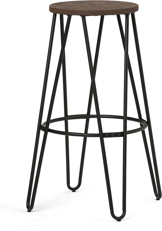 Simpli Home Simeon 30 inch Metal & Wood Bar Stool, Cocoa Brown