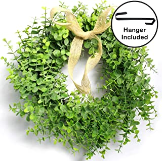 JAPJA Realistic Artificial Boxwood Eucalyptus Wreath - Real Dry Grapevine Base, Includes Steel Wreath Door Hanger and Burlap Ribbon, All Season Green Wreath Perfect for Front Door, Outdoor, Christmas