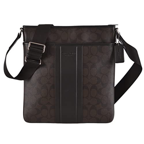 959fa585f651 Coach Men s Signature Heritage Zip Top Crossbody Messenger Bag 71131 Dark  Brown