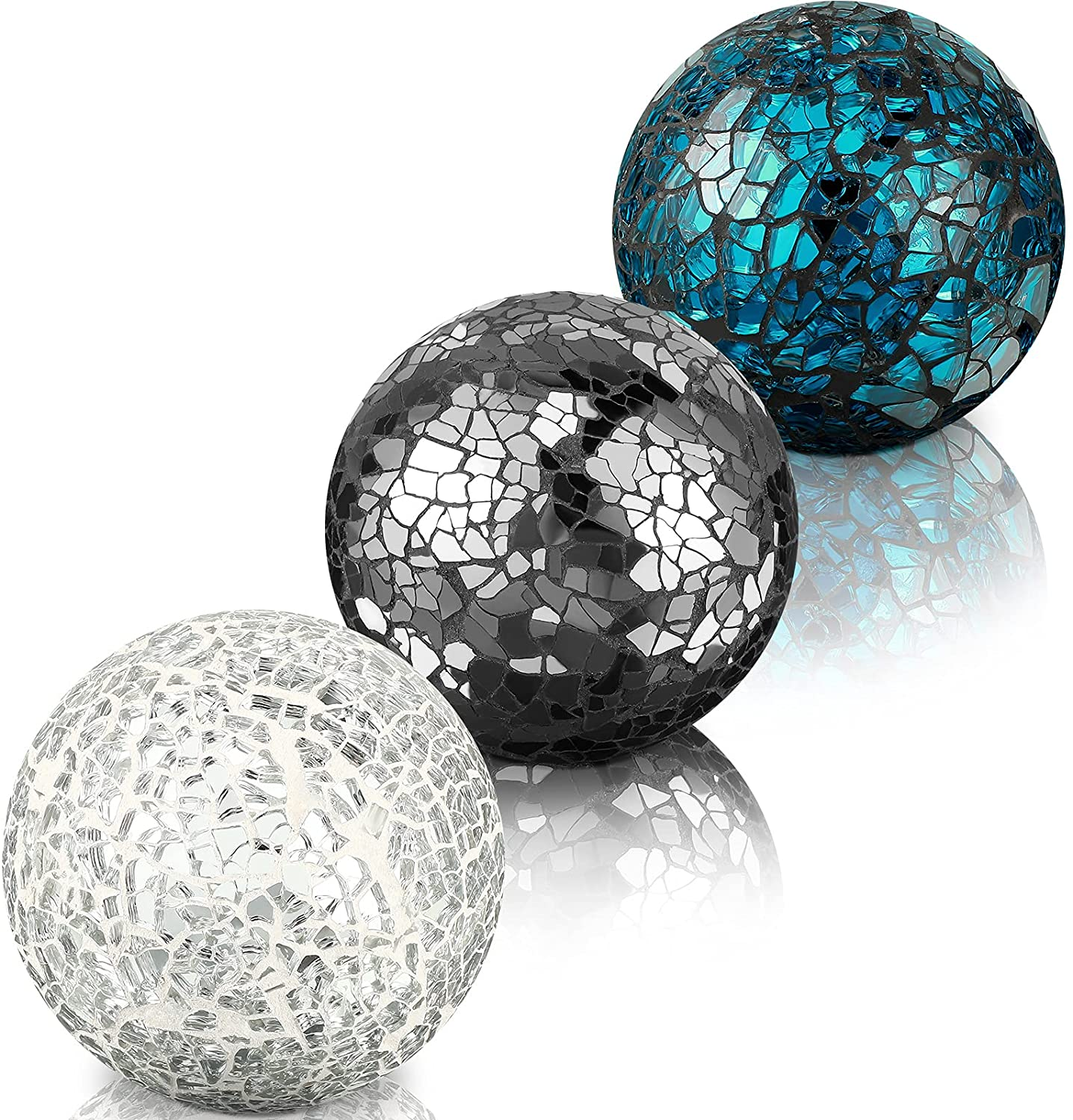 3 Pieces Decorative Balls Mosaic Glass Sphere Centerpiece Orb Glass Vase Balls Vases Dining Table Decorations (Silver, Turquoise, Black)