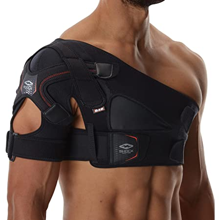 Shock Doctor Shoulder Support Brace for Men, Prevents & Promotes Healing from AC Sprains, Rotator Cuff Injuries & Moderate Separations- Single