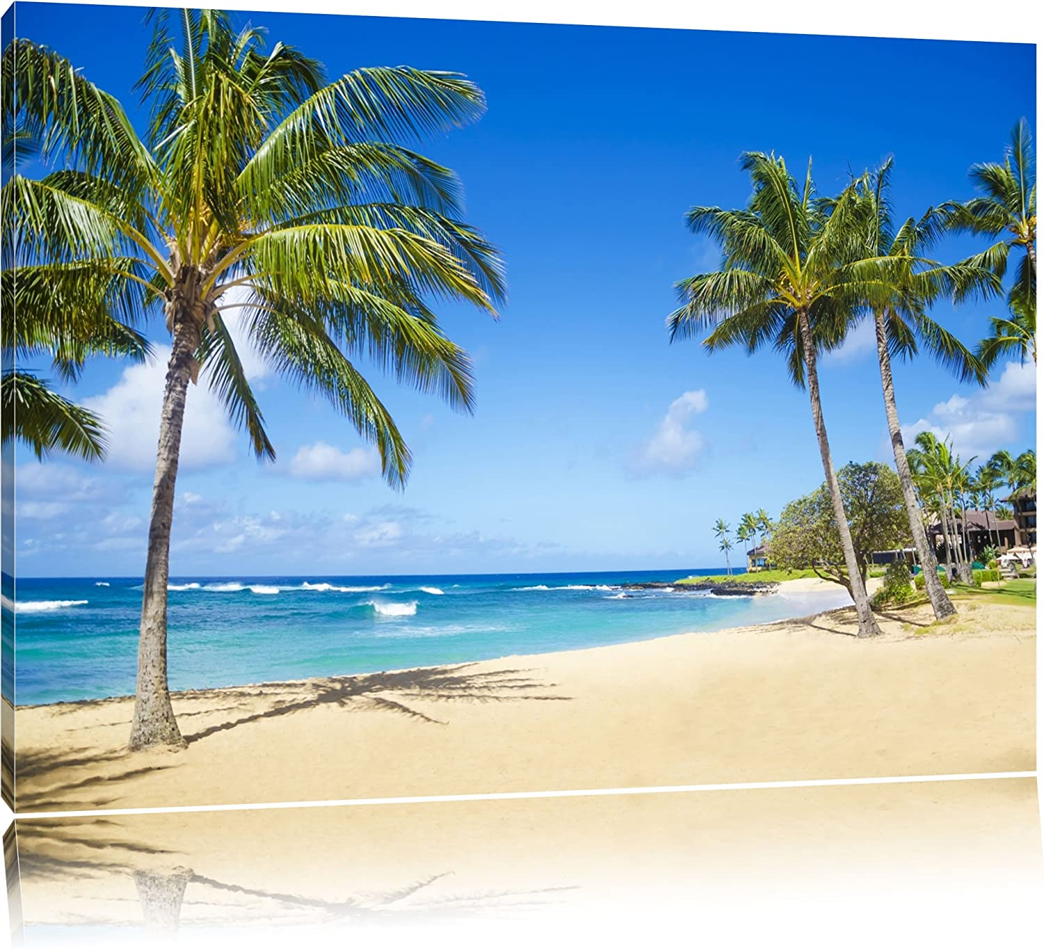 Beautiful Beach With Palm Trees Canvas Xxl Huge Pictures Completely Framed With Stretcher Art Print On Wall Picture With Frame Cheaper Than Oil Paintings And Picture No Poster Or Poster Size 100x70