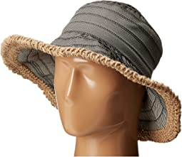 RBM5563 Bucket Ribbon Hat with Crochet Hemp Edging