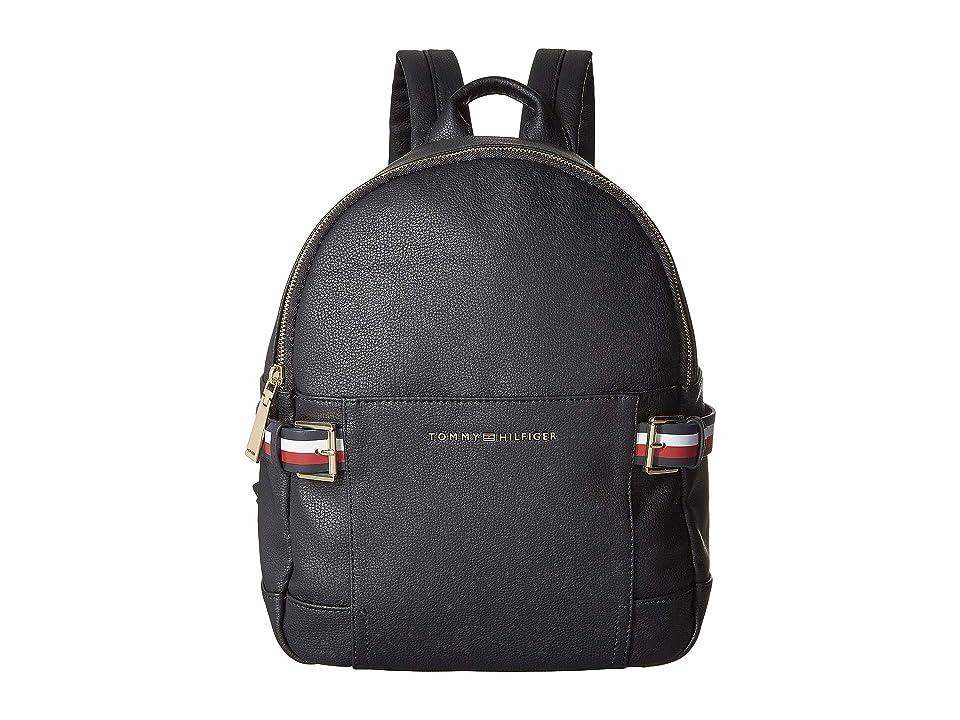 Tommy Hilfiger Meriden Pebble PVC Backpack (Black) Backpack Bags