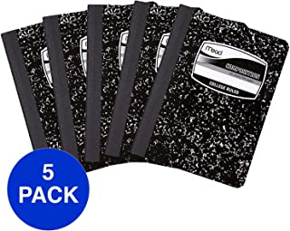 Mead Composition Books/Notebooks, College Ruled Paper, 100 Sheets, 5 Pack (72930)