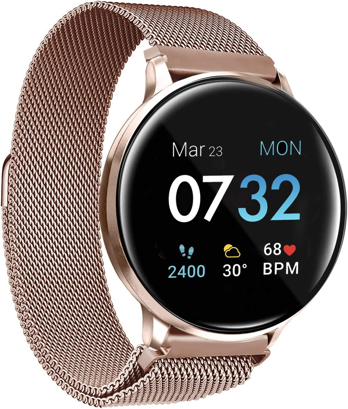 iTouch Sport 2021 Smartwatch Fitness Tracker Body Temperature Heart Rate Step Counter Sleep Monitor IP68 Waterproof for Women & Men up to 30 Day Battery Touch Screen Compatible w Android & iOS (43mm)