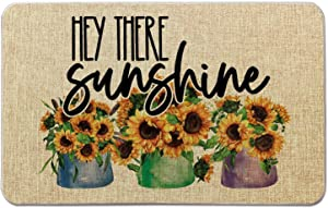 Summer Front Door Welcome Mat -Hey There Sunshine -Sunflower Burlap Doormat for Office/Home/Classroom/Store Entryway Porch Decor Gifts   27.5X17 inches OCCdesign B063