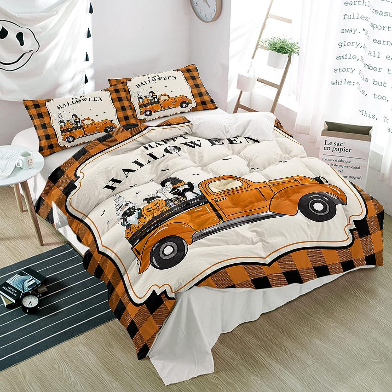 3 Pieces Bedding Set Happy Pumpkin Watercolor Orange Halloween Max 43% OFF F Sale SALE% OFF