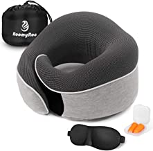 RoomyRoc Travel Pillow 100% Pure Memory Foam Neck Pillow, Soft Full Chin Head Neck Support Adjustable Best Sleep Pillow with Mask Earplug, Breathable & Washable Pillowcase, Car & Airplane Pillow, Grey