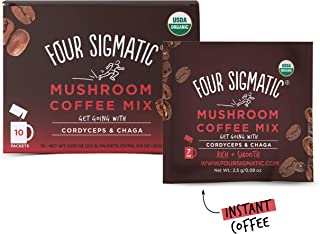 Four Sigmatic Mushroom Coffee, USDA Organic Coffee with Cordyceps and Chaga mushrooms, performance, Vegan, Paleo, 10 Count