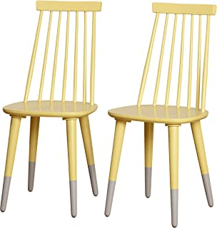 Angelo:HOME Hermosa Modern Contemporary Spindleback Dining Chairs, Set of 2, Yellow