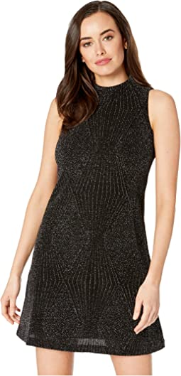 Mock Neck Embossed Metallic Knit Shift