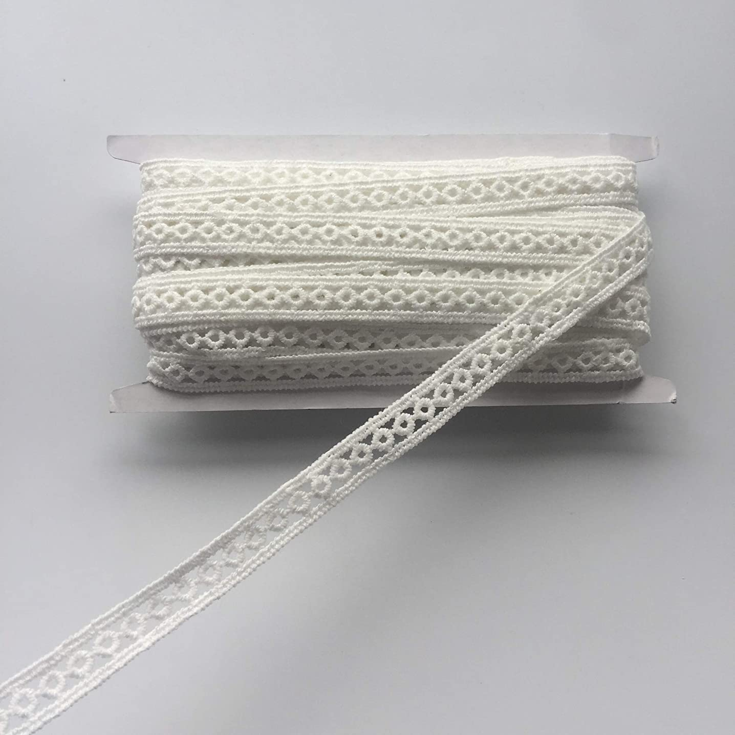 ELLAMAMA White Color Embroidered Lace Trim Lace Ribbon Band 3/8'' x 10 Yards with Small Circle Patterm,for DIY Craft,Sewing,Home Improvements,Decorations,Crewel&Quilting,Bridal Dress,etc