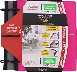 Five Star Flex Hybrid NoteBinder, 1 Inch Binder, Notebook and Binder All-in-One, 2 Pack, Pink/Grey