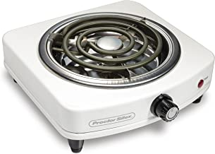 Proctor Silex Electric Single Burner, Compact and Portable, Adjustable Temperature Hot Plate, 1000 Watts, 120V, White & St...
