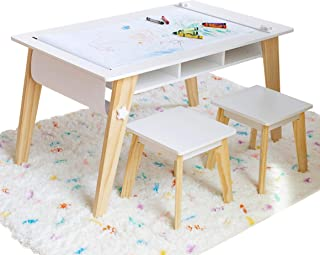 Wildkin Kids Arts and Crafts Table Set for Boys and Girls, Mid-Century Modern Activity Table Includes Two Stools and Paper, Two Storage Cubbies Underneath Table Help Keep Art Supplies Organized