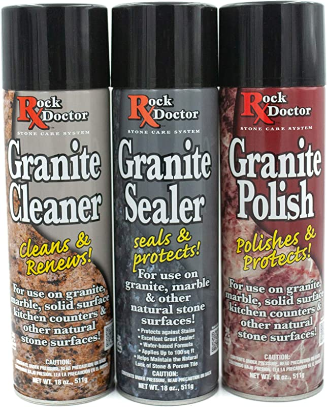 Rock Doctor Granite Care Kit 3 Piece Maintenance Stone Care Combo Kit All In One Rock Surface Care System Includes Protective Granite Cleaner Granite Polish Granite Sealer 18oz Each