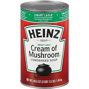 Heinz Reduced Sodium Cream of Mushroom Soup (12 ct Casepack, 49.5 oz Cans)
