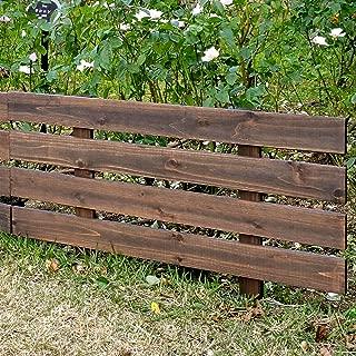 天然木製 花壇フェンス ボーダーフェンス スティック 1枚 ダークブラウン 幅80cm×高さ49cm JSBF-8049DBR