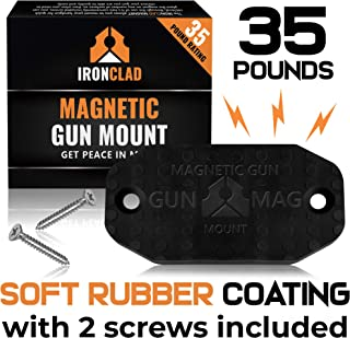 Ironclad Rubber Coated Gun Magnet - Mount Anywhere - No-Scratch - Gun Holder for Car, Desk, Bedside, Office - Easy to Install - Gun Clip Magnet for Rapid Draw (Black, 35lbs)