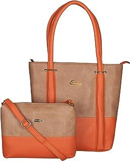 ESBEDA Orange Color BIG Size Vinyl Combo Handbag with Slingbag For Women