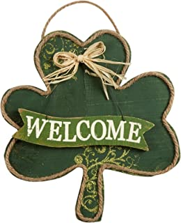 St.Patrick's Day Shamrock Welcome Sign Decoration for Home or Office Hanging Welcome Wood Sign
