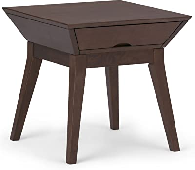 SIMPLIHOME Tessa Solid Hardwood 22 inch wide Square Contemporary End Side Table in Walnut Brown with Storage, 1 Drawer, for the Living Room and Bedroom