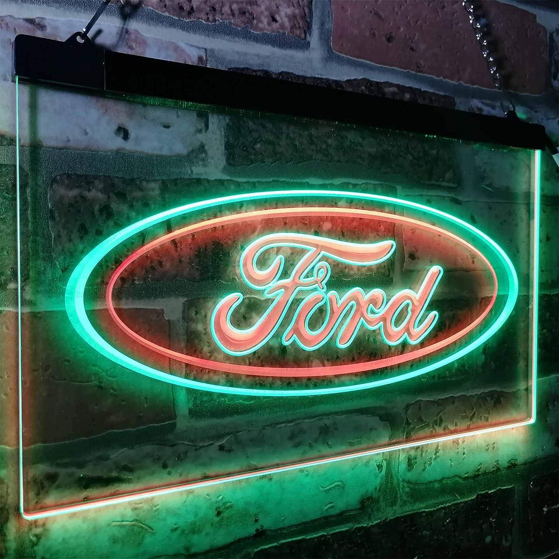 Zusme Ford car Transport Bar Novelty LED Neon Sign Grün + rot W40cm x H 30cm