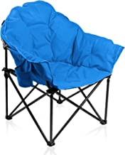 ALPHA CAMP Oversized Moon Saucer Chair with Folding Cup Holder and Carry Bag - Blue