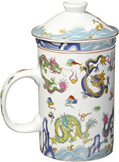 StealStreet 10029 5 inch Chinese Dragon Porcelain Tea Cup with Strainer, White