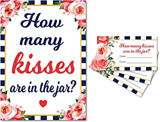 Guess How Many Kisses in the Jar Bridal Shower Game (Navy Stripe) 1 Sign and 30 Guess Cards