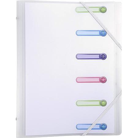 Exacompta - Réf. 56177E - 1 Trieur 6 compartiments avec 3 rabats et fenêtres découpées Chromaline, format 25x32 cm, couverture polypo translucide blanc