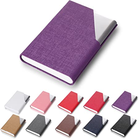 Efaithtek Professional Business Card Holder Business Name Card Holder Luxury PU Leather & Stainless Steel Multi Card Case - Keep Your Business Cards Clean (Purple)