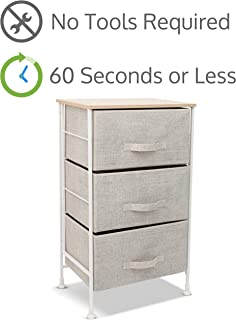 Luxton Home 3 Drawer Storage Organizer – 60 Second Fast Assembly, No Tools Needed, Small Gray Linen Tower Dresser Chest Dorm Room Essential, Closet, Bedroom, Bathroom (3D,Cream)