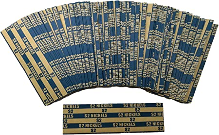 Flat Coin Wrappers Dollar Only ABA-Standard Colored Striped Durable Kraft Paper 100 Pack