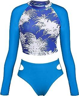 ATTRACO Women Long Sleeve Swim Shirts Rash Guard Two Piece Swimsuits UPF 50+