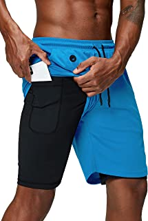 Men's 2 in 1 Running Shorts Gym Workout Quick Dry Mens...