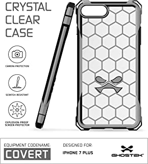 Ghostek iPhone 7 Plus Case, Covert Series for Apple iPhone 8 Plus Premium Hybrid Impact Protective Armor Case Cover | Clear TPU | Explosion-Proof Screen Protector | Ultra Fit | Spring Corners (Gray)